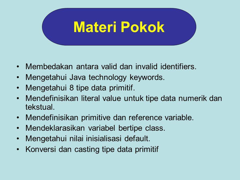 Materi Pokok Membedakan antara valid dan invalid identifiers.
