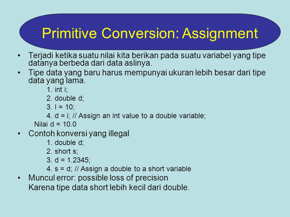 Primitive Conversion: Assignment