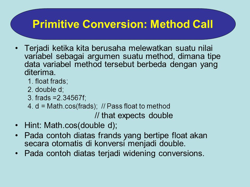 Primitive Conversion: Method Call
