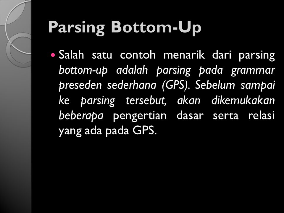 Parsing Bottom-Up