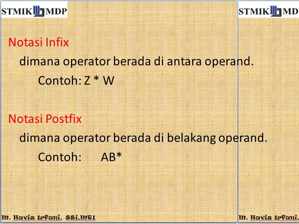 Notasi Infix dimana operator berada di antara operand. Contoh: Z * W. Notasi Postfix. dimana operator berada di belakang operand.