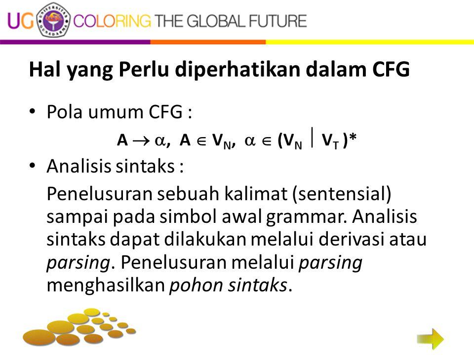Hal yang Perlu diperhatikan dalam CFG