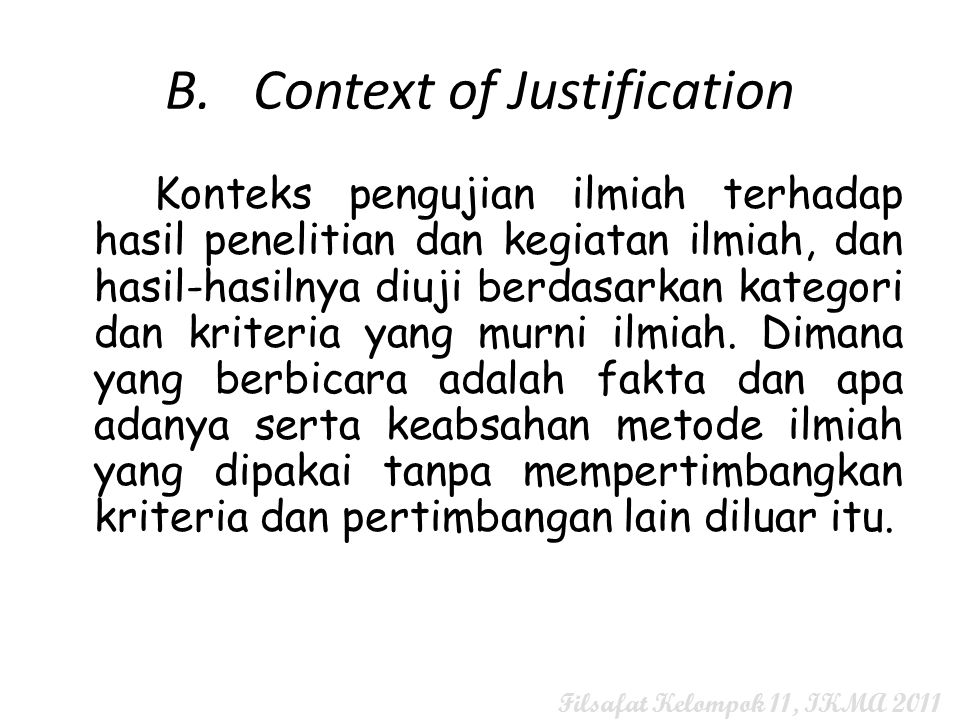 B. Context of Justification