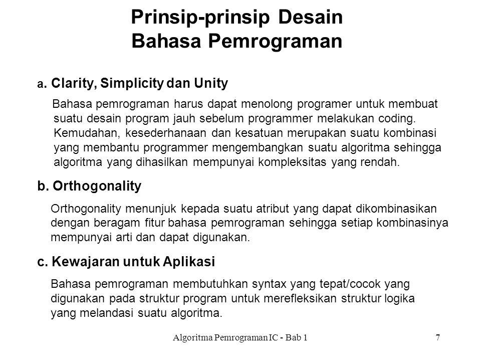Prinsip-prinsip Desain Bahasa Pemrograman
