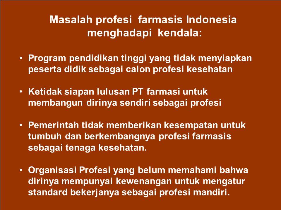 Masalah profesi farmasis Indonesia menghadapi kendala: