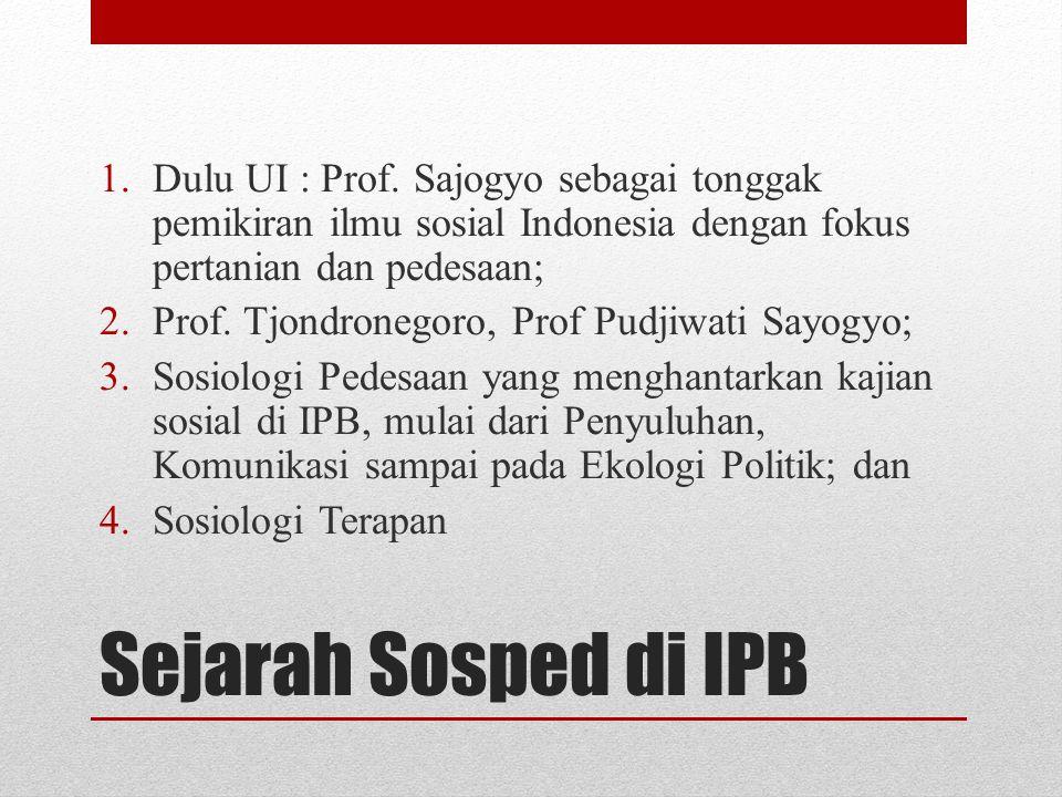 Dulu UI : Prof. Sajogyo sebagai tonggak pemikiran ilmu sosial Indonesia dengan fokus pertanian dan pedesaan;