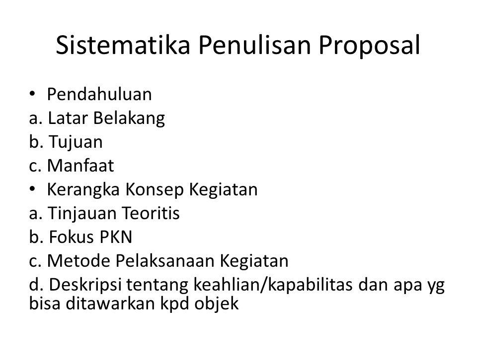 Sistematika Penulisan Proposal