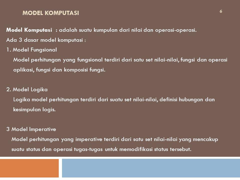 MODEL KOMPUTASI Model Komputasi : adalah suatu kumpulan dari nilai dan operasi-operasi. Ada 3 dasar model komputasi :