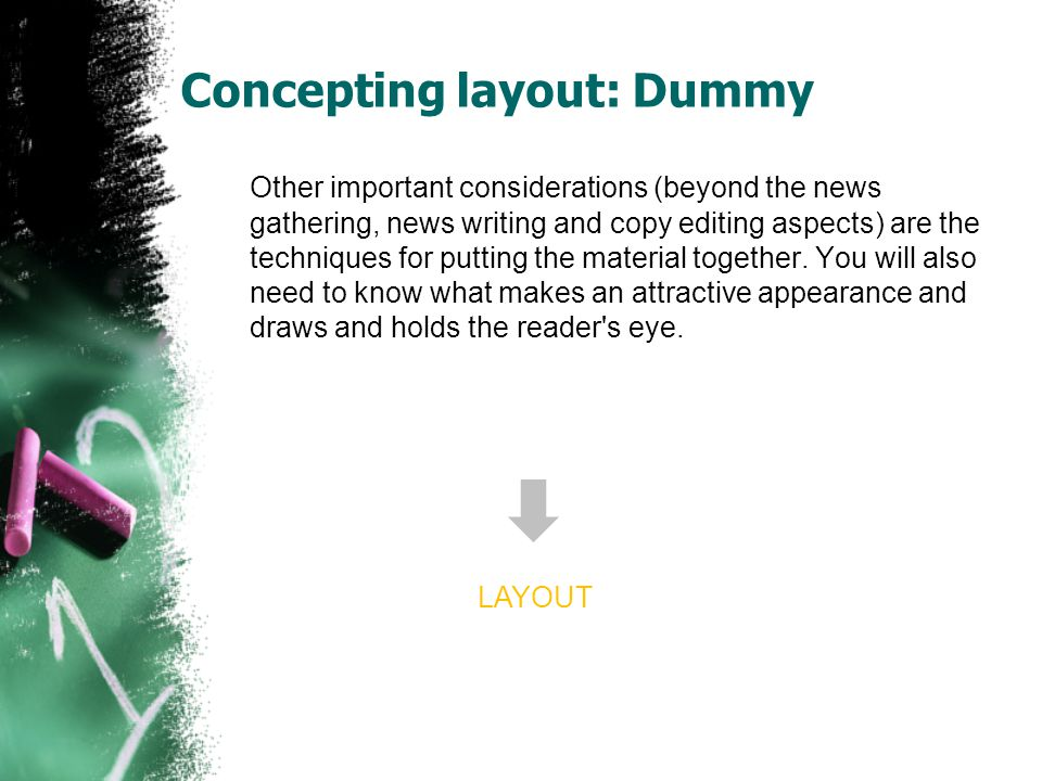 Concepting layout: Dummy