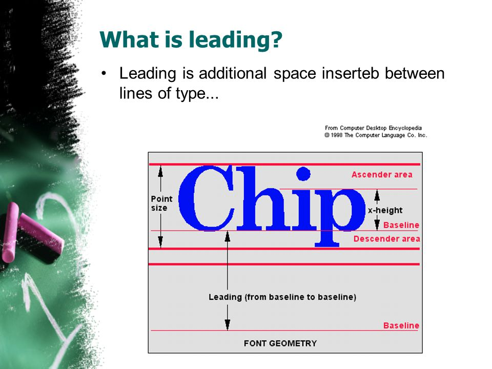 What is leading Leading is additional space inserteb between lines of type...