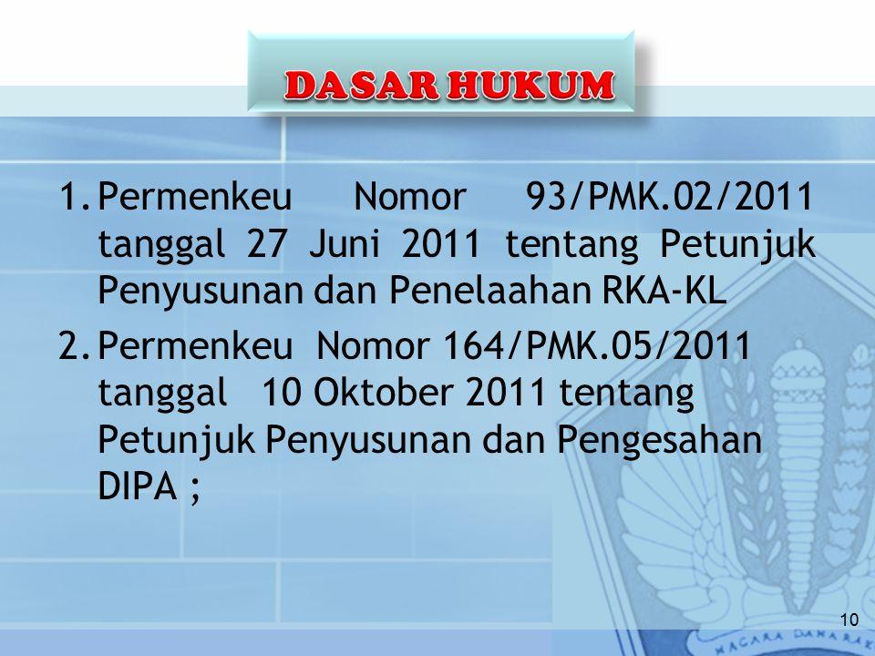 DASAR HUKUM Permenkeu Nomor 93/PMK.02/2011 tanggal 27 Juni 2011 tentang Petunjuk Penyusunan dan Penelaahan RKA-KL.
