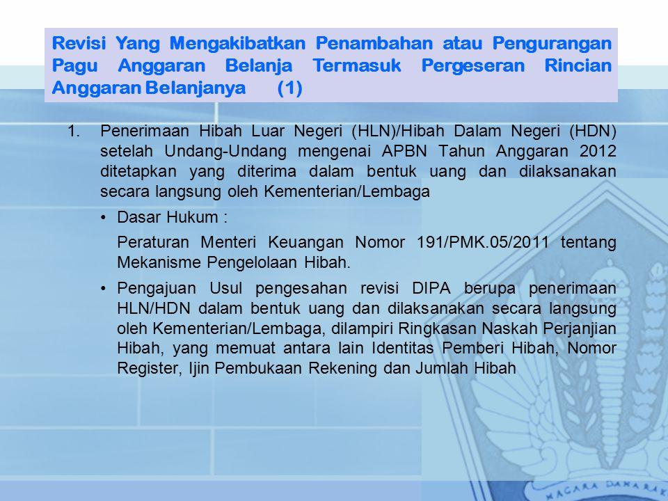 Revisi Yang Mengakibatkan Penambahan atau Pengurangan Pagu Anggaran Belanja Termasuk Pergeseran Rincian Anggaran Belanjanya (1)