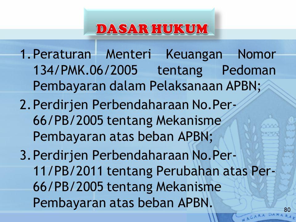 DASAR HUKUM Peraturan Menteri Keuangan Nomor 134/PMK.06/2005 tentang Pedoman Pembayaran dalam Pelaksanaan APBN;