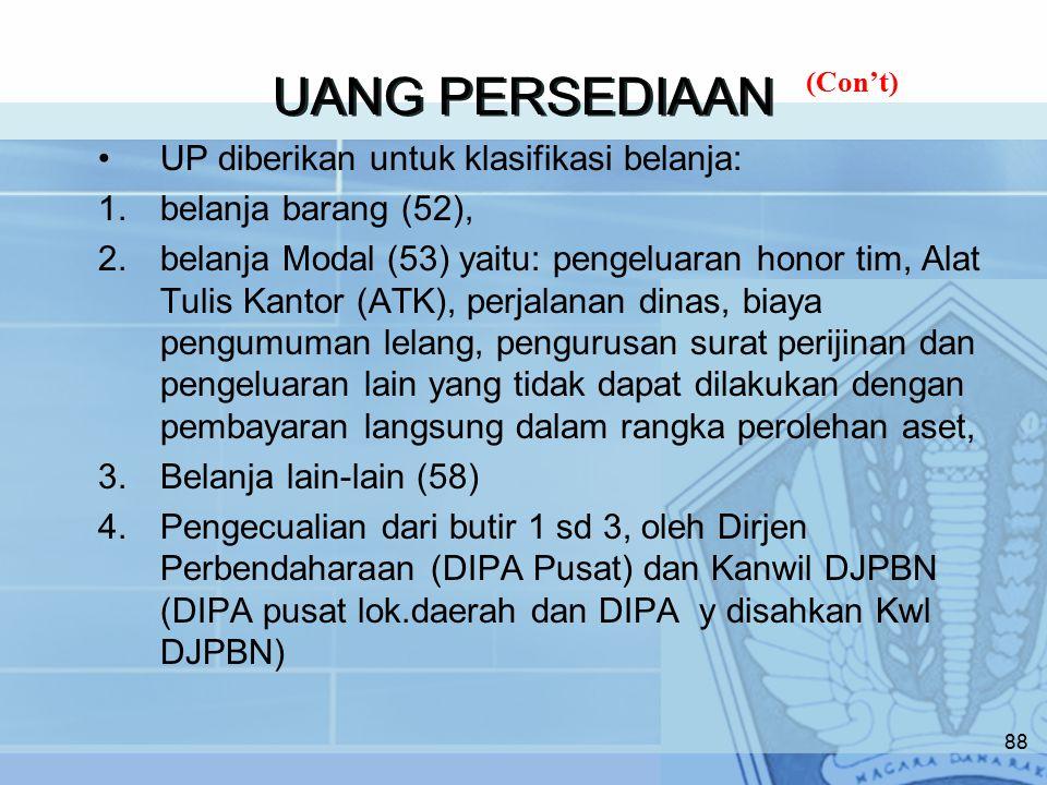 UANG PERSEDIAAN UP diberikan untuk klasifikasi belanja: