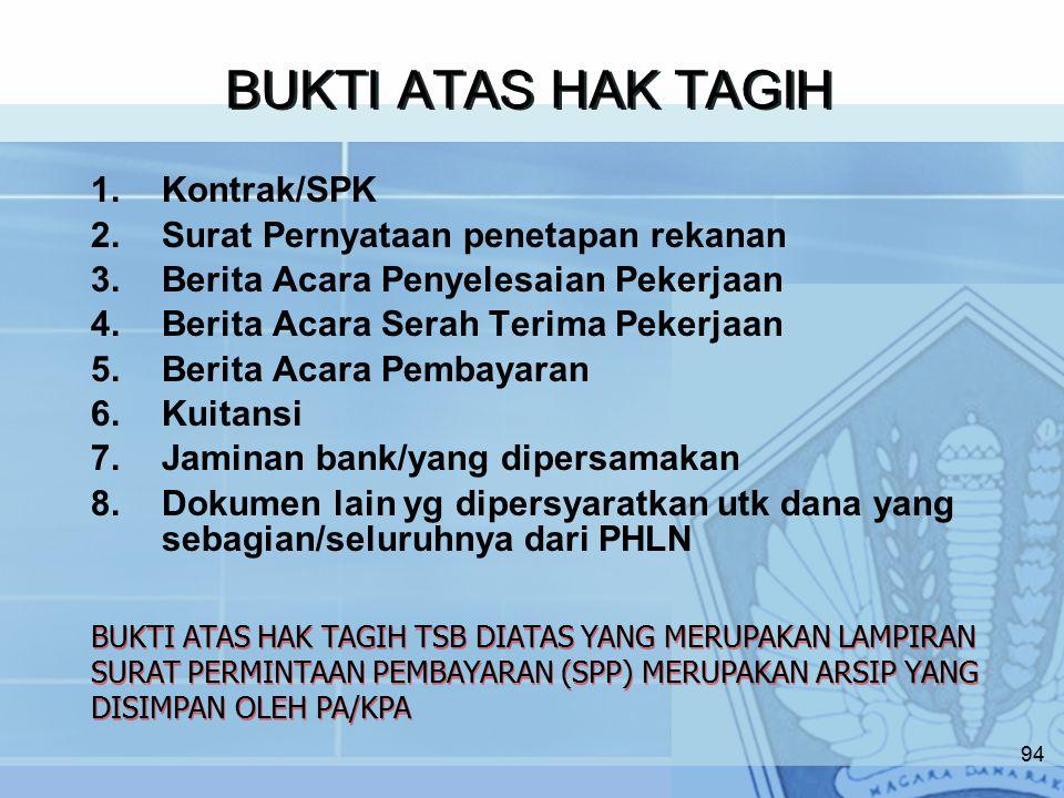 BUKTI ATAS HAK TAGIH Kontrak/SPK Surat Pernyataan penetapan rekanan
