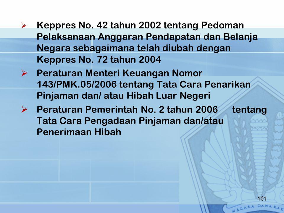 Keppres No. 42 tahun 2002 tentang Pedoman Pelaksanaan Anggaran Pendapatan dan Belanja Negara sebagaimana telah diubah dengan Keppres No. 72 tahun 2004