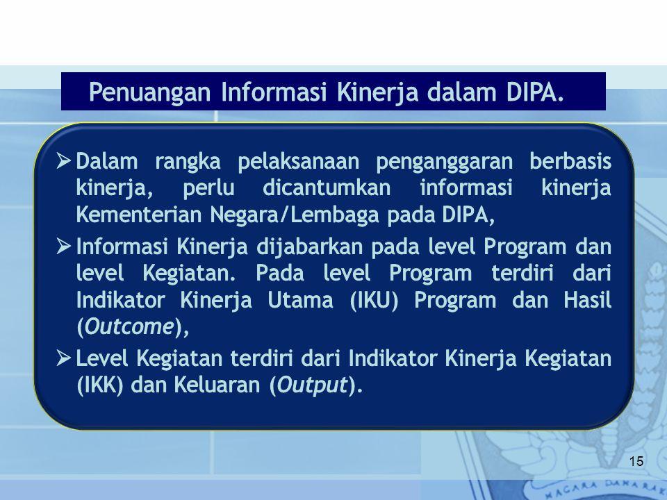 Penuangan Informasi Kinerja dalam DIPA.