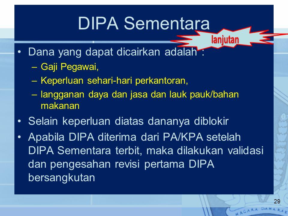 DIPA Sementara lanjutan Dana yang dapat dicairkan adalah :