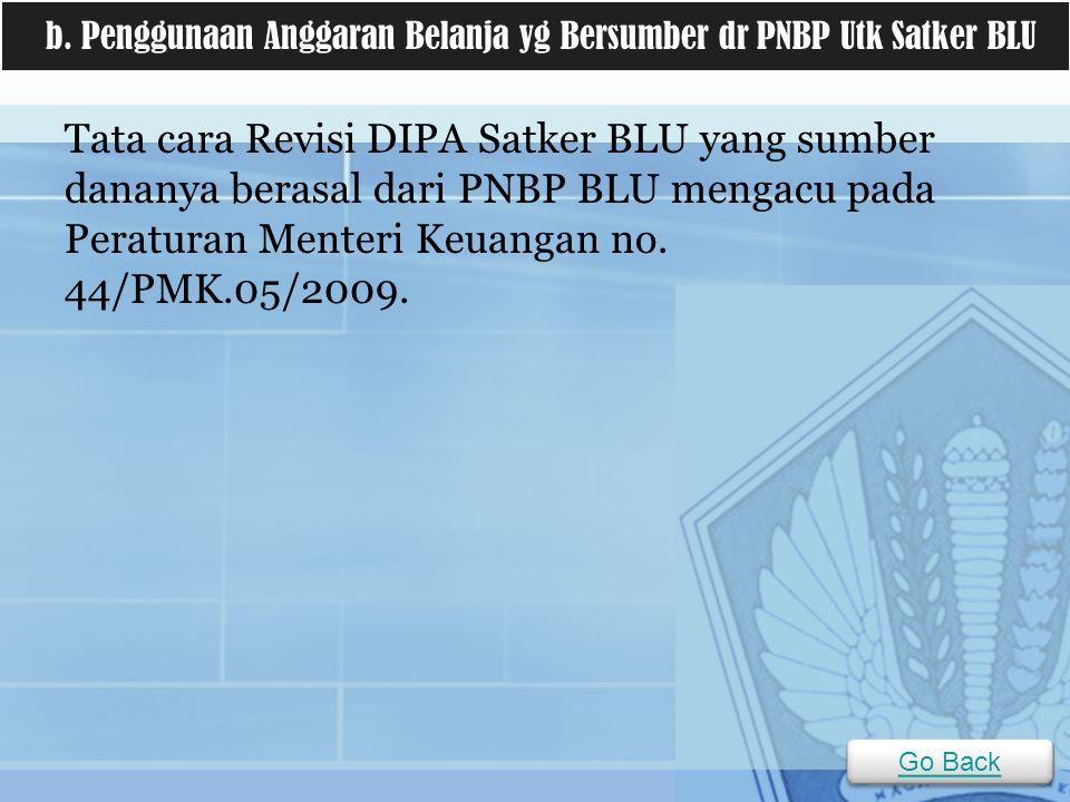 b. Penggunaan Anggaran Belanja yg Bersumber dr PNBP Utk Satker BLU