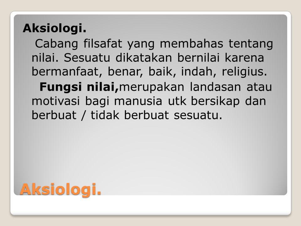 Aksiologi. Cabang filsafat yang membahas tentang nilai
