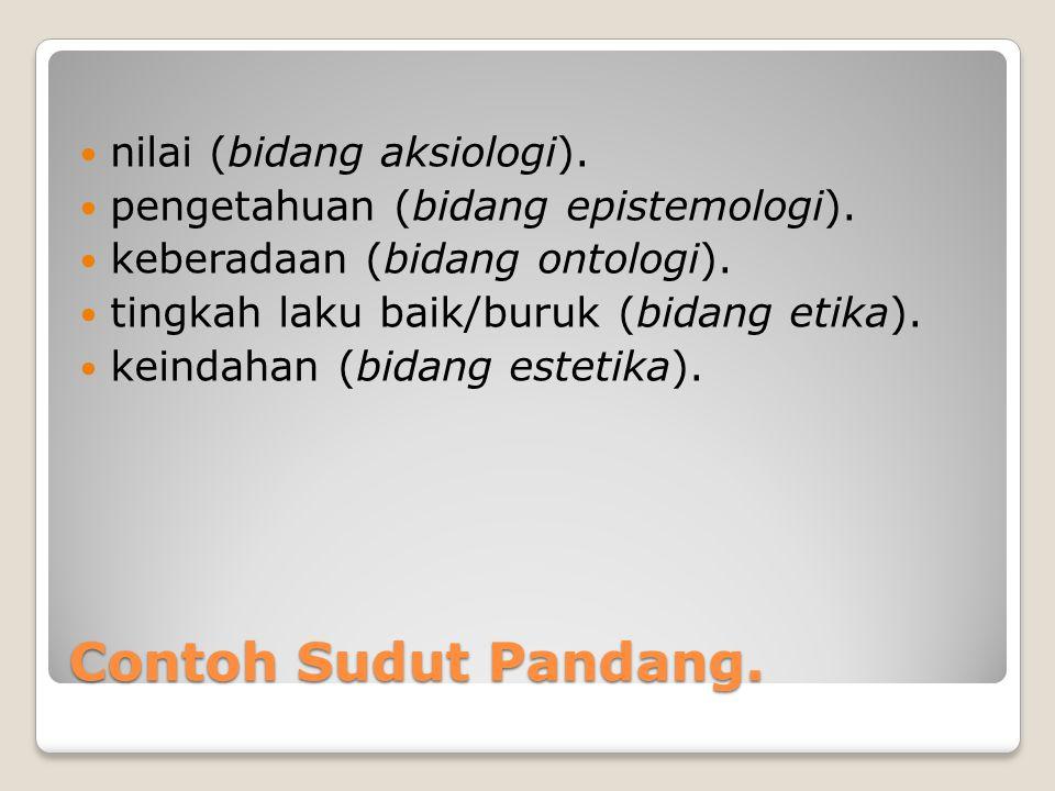 Contoh Sudut Pandang. nilai (bidang aksiologi).