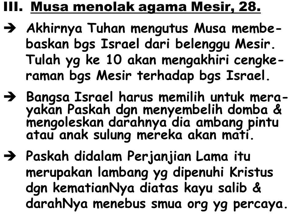 Musa menolak agama Mesir, 28.