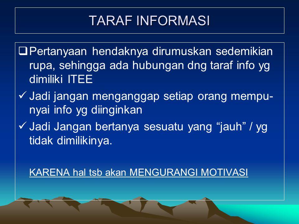 TARAF INFORMASI Pertanyaan hendaknya dirumuskan sedemikian rupa, sehingga ada hubungan dng taraf info yg dimiliki ITEE.