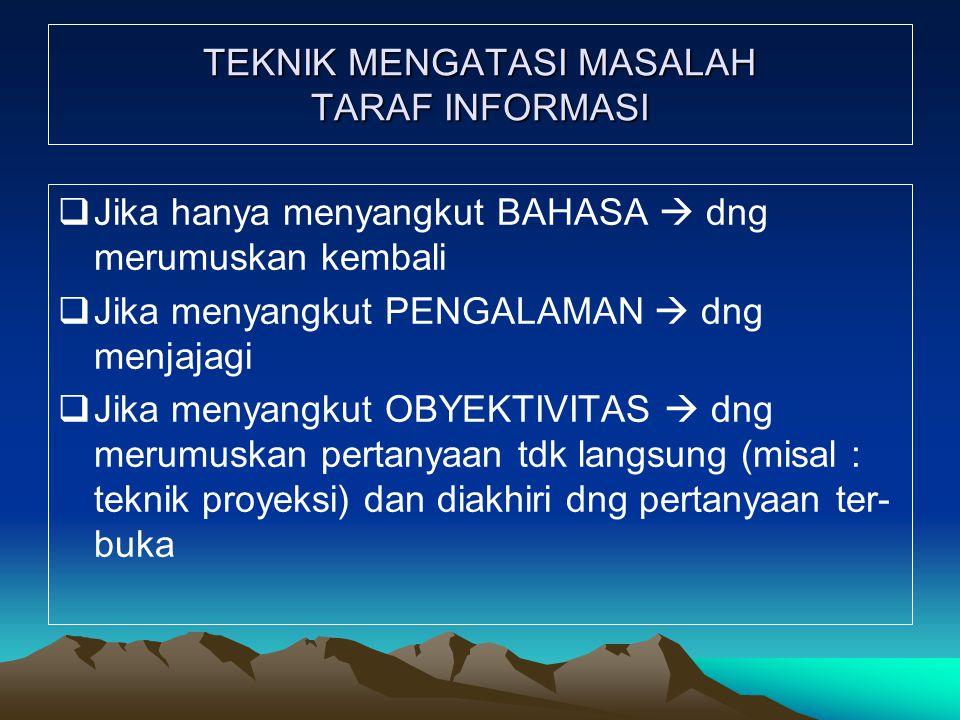 TEKNIK MENGATASI MASALAH TARAF INFORMASI