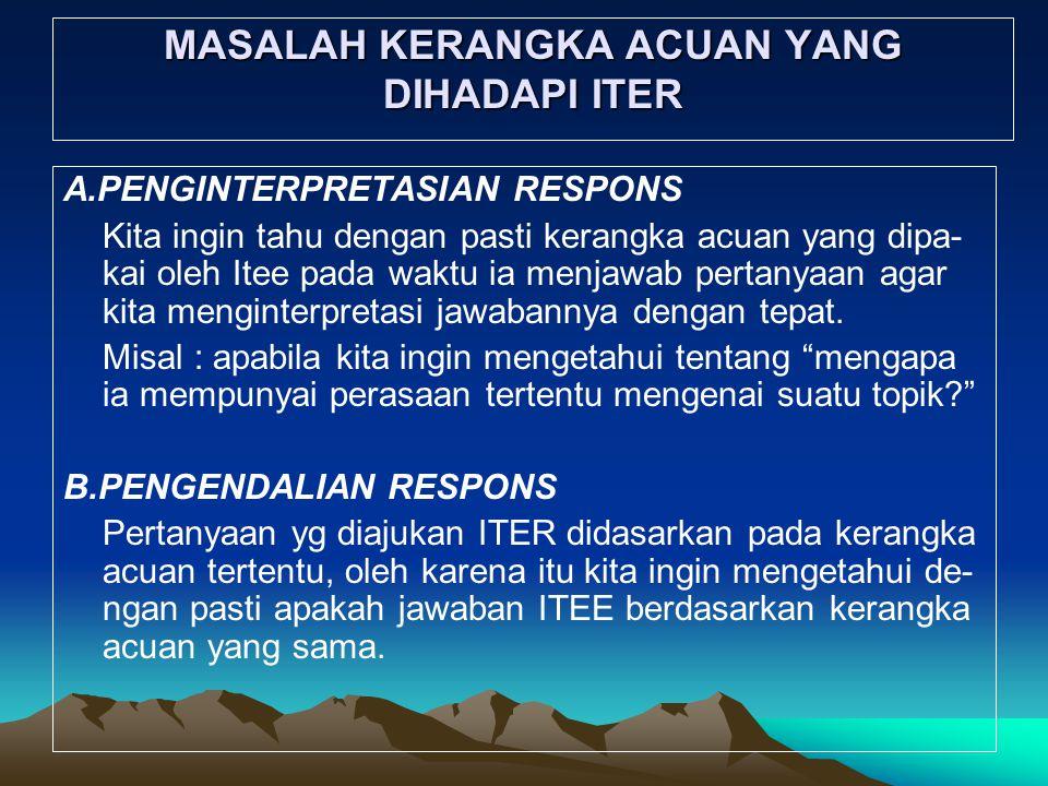 MASALAH KERANGKA ACUAN YANG DIHADAPI ITER