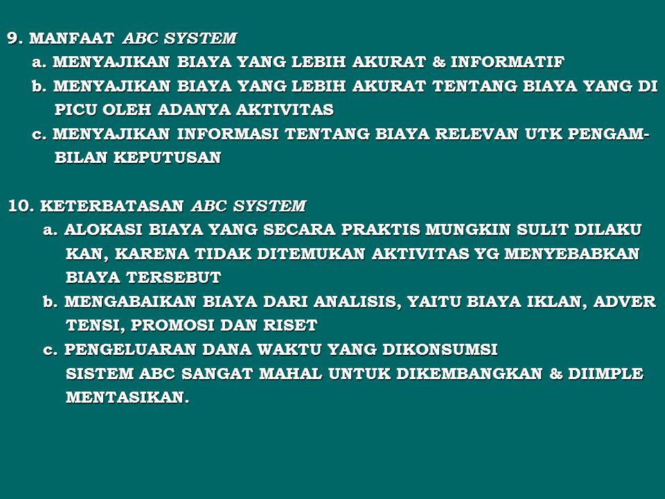 9. MANFAAT ABC SYSTEM a. MENYAJIKAN BIAYA YANG LEBIH AKURAT & INFORMATIF. b. MENYAJIKAN BIAYA YANG LEBIH AKURAT TENTANG BIAYA YANG DI.