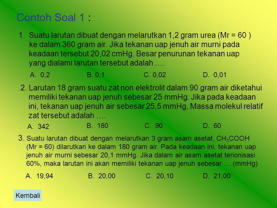 Contoh Soal 1 : Suatu larutan dibuat dengan melarutkan 1,2 gram urea (Mr = 60 )