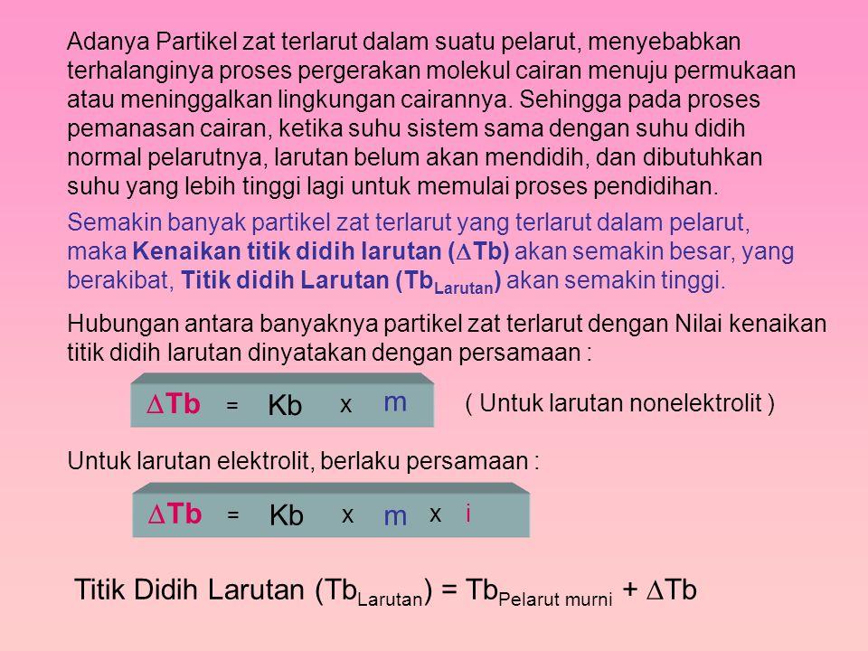 Titik Didih Larutan (TbLarutan) = TbPelarut murni + Tb