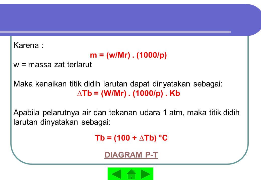 Karena : m = (w/Mr) . (1000/p) w = massa zat terlarut. Maka kenaikan titik didih larutan dapat dinyatakan sebagai: