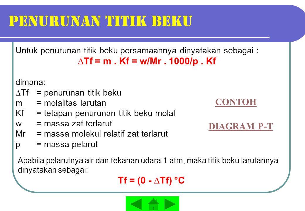Penurunan titik beku ∆Tf = m . Kf = w/Mr . 1000/p . Kf CONTOH