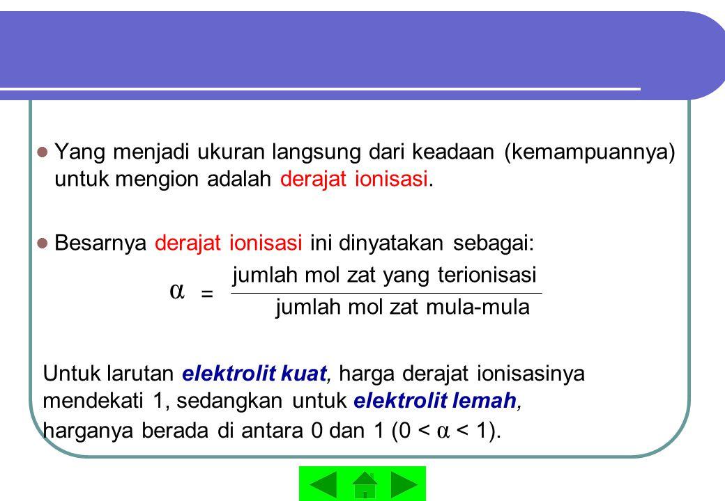 Yang menjadi ukuran langsung dari keadaan (kemampuannya) untuk mengion adalah derajat ionisasi.