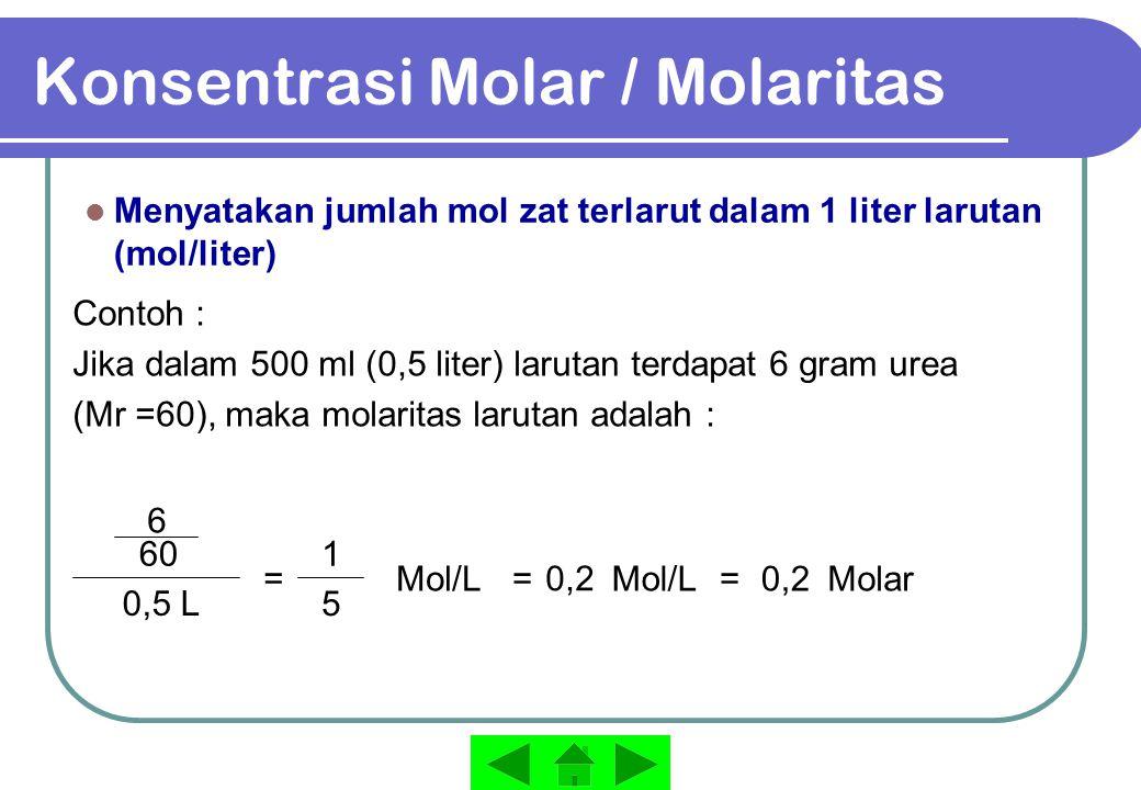 Konsentrasi Molar / Molaritas