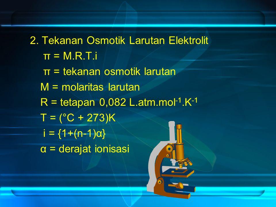 2. Tekanan Osmotik Larutan Elektrolit