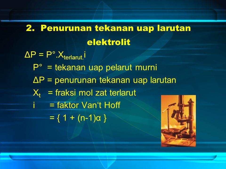 2. Penurunan tekanan uap larutan elektrolit