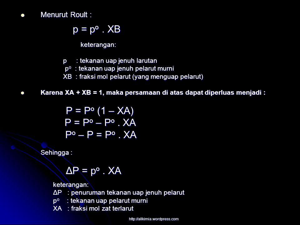 P = Po – Po . XA Po – P = Po . XA Menurut Roult : keterangan: