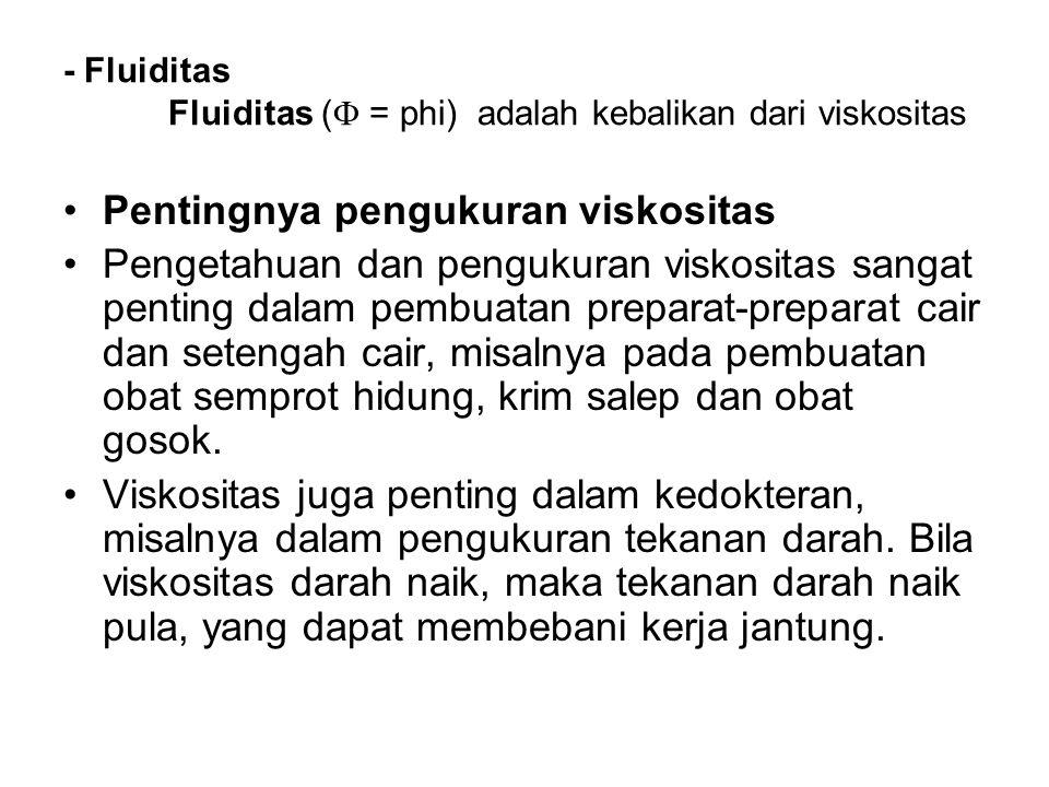 - Fluiditas Fluiditas ( = phi) adalah kebalikan dari viskositas