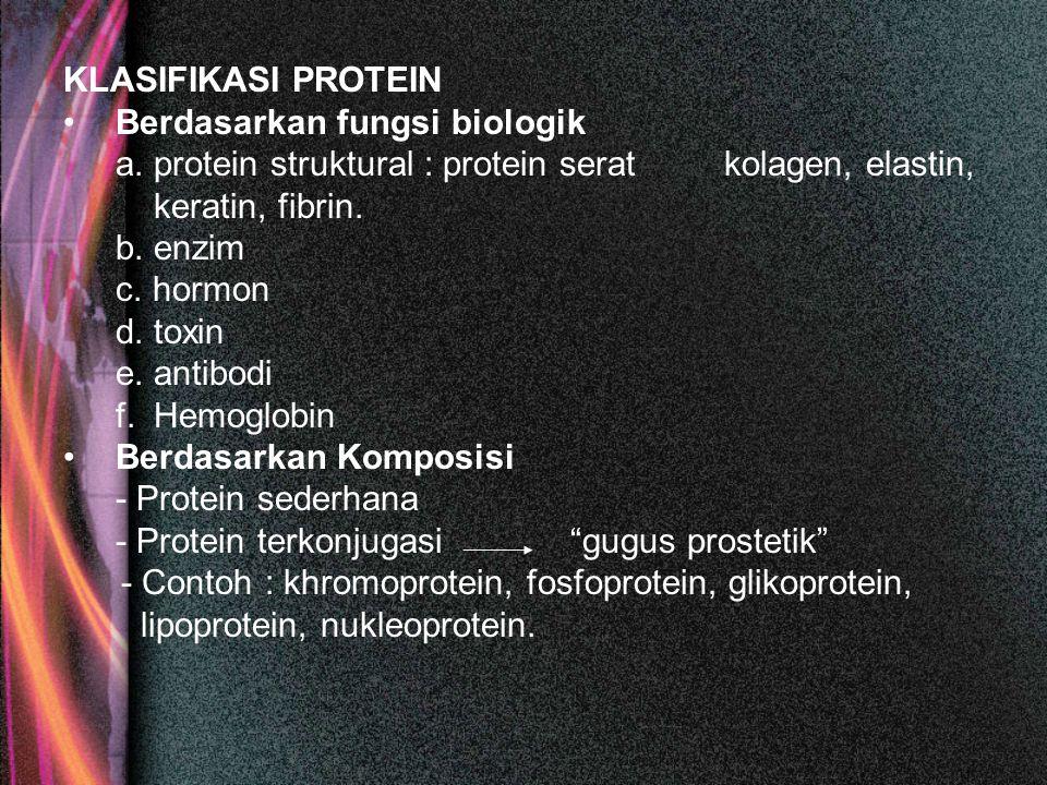 KLASIFIKASI PROTEIN Berdasarkan fungsi biologik. a. protein struktural : protein serat kolagen, elastin,