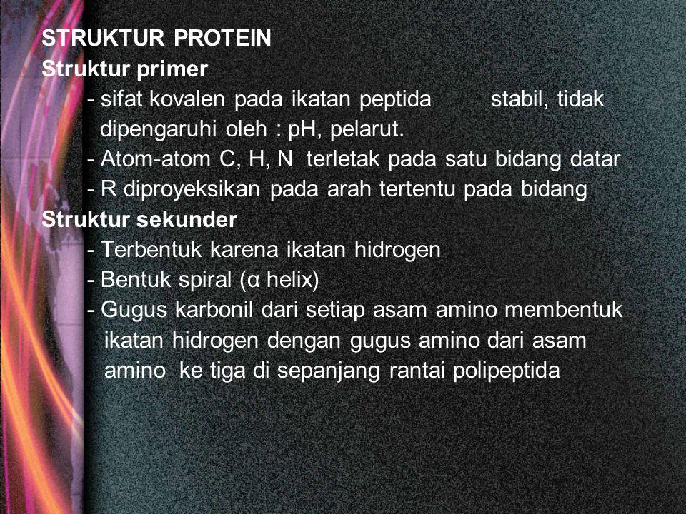 STRUKTUR PROTEIN Struktur primer. - sifat kovalen pada ikatan peptida stabil, tidak. dipengaruhi oleh : pH, pelarut.