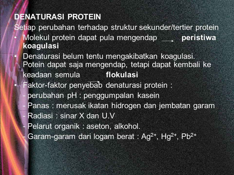DENATURASI PROTEIN Setiap perubahan terhadap struktur sekunder/tertier protein. Molekul protein dapat pula mengendap peristiwa koagulasi.