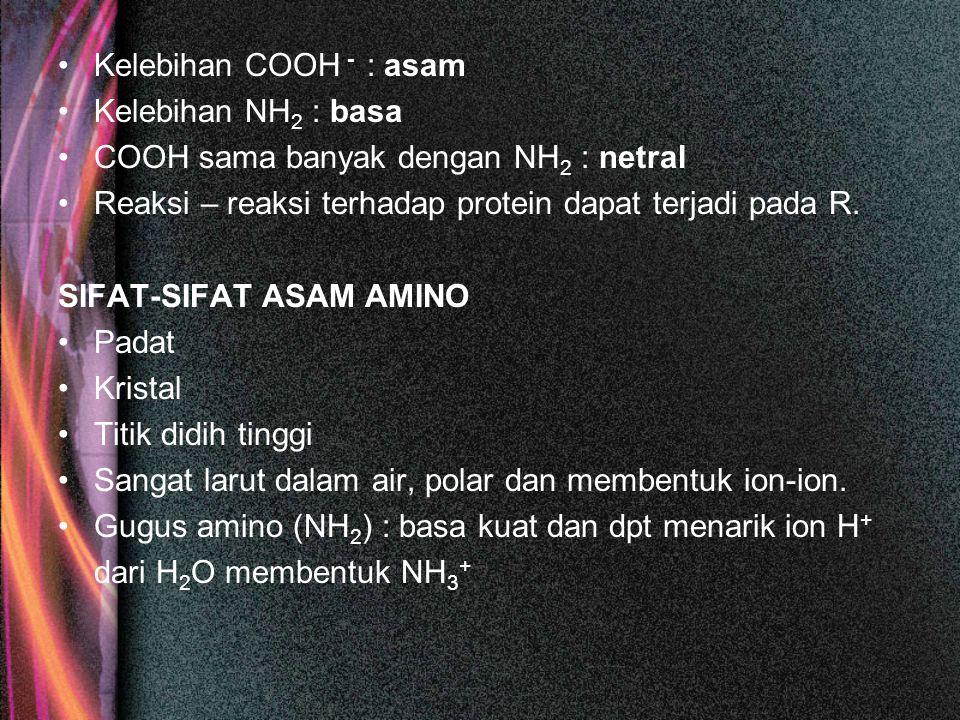 Kelebihan COOH - : asam Kelebihan NH2 : basa. COOH sama banyak dengan NH2 : netral. Reaksi – reaksi terhadap protein dapat terjadi pada R.