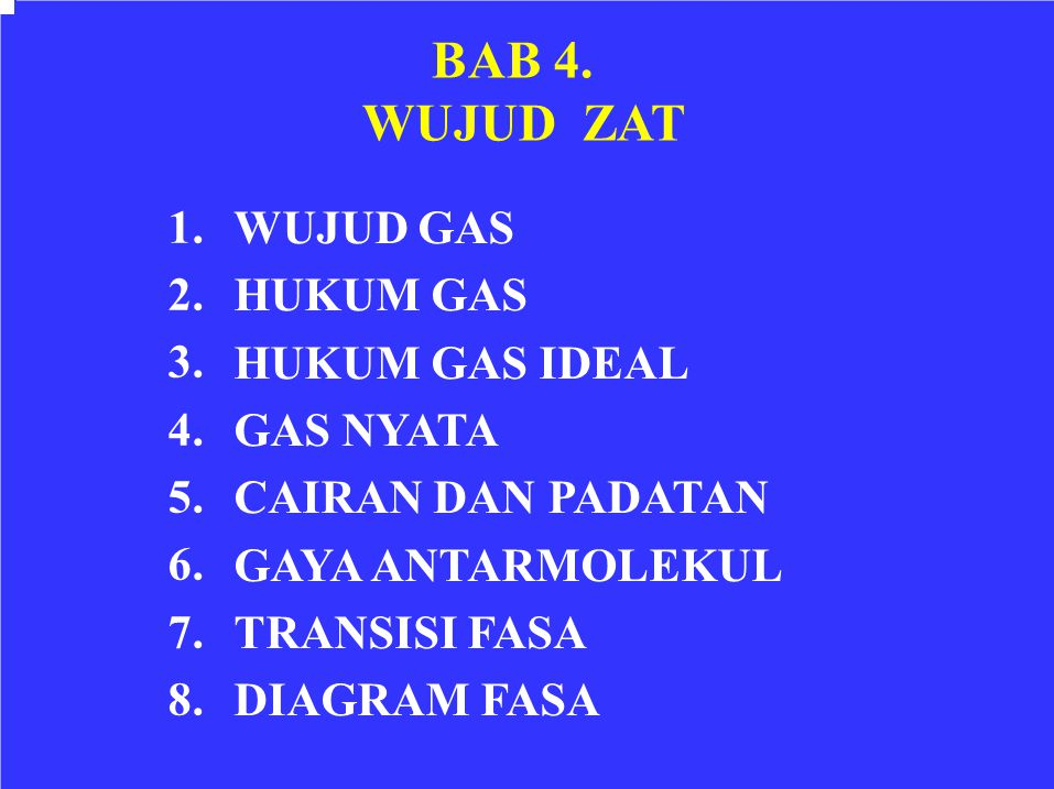 WUJUD ZAT 1. WUJUD GAS 2. HUKUM GAS 3. HUKUM GAS IDEAL 4. GAS NYATA 5.