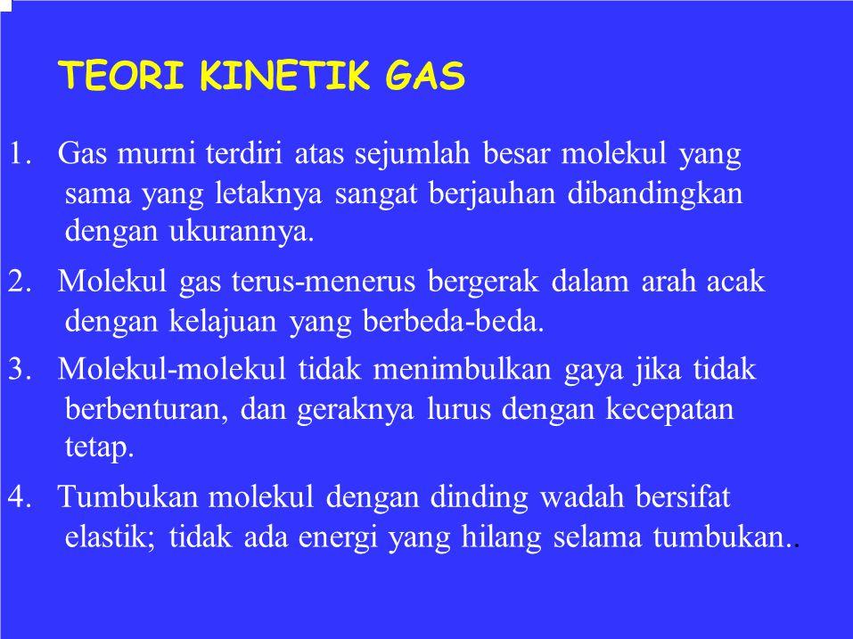 TEORI KINETIK GAS 1. Gas murni terdiri atas sejumlah besar molekul yang. sama yang letaknya sangat berjauhan dibandingkan.