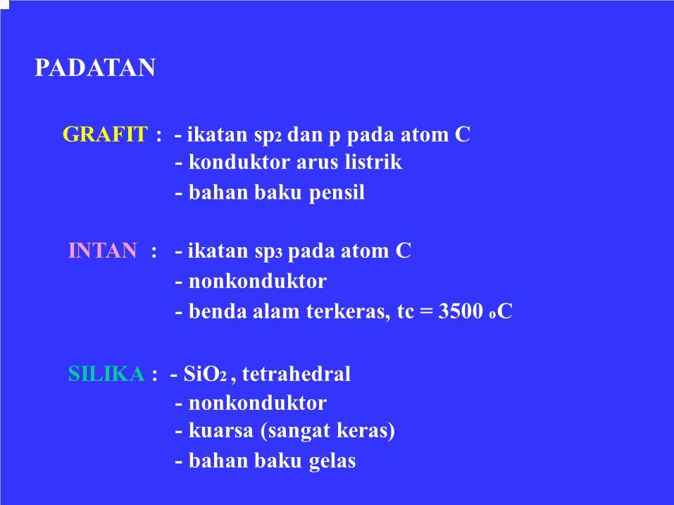 PADATAN GRAFIT : - ikatan sp2 dan p pada atom C