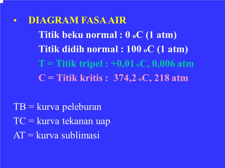Titik didih normal : 100 oC (1 atm)