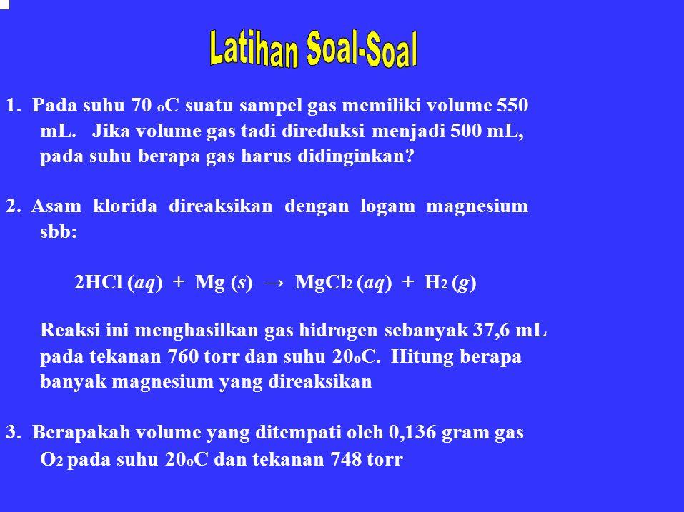 1. Pada suhu 70 oC suatu sampel gas memiliki volume 550