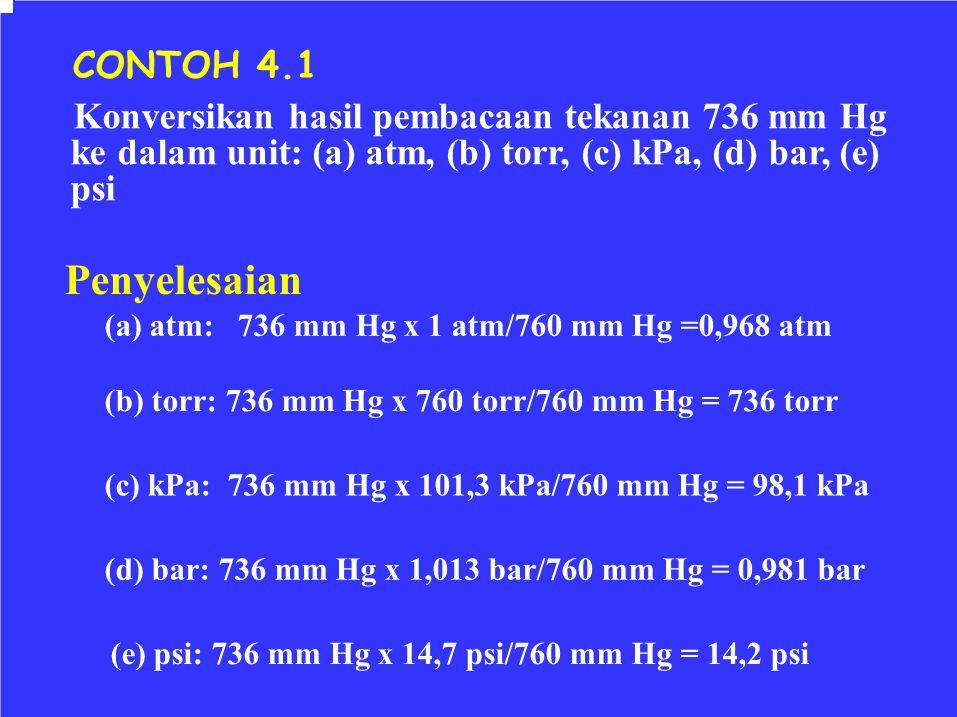 CONTOH 4.1 Konversikan hasil pembacaan tekanan 736 mm Hg. ke dalam unit: (a) atm, (b) torr, (c) kPa, (d) bar, (e)